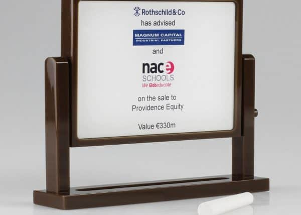 A financial tombstone, deal toy and recognition award